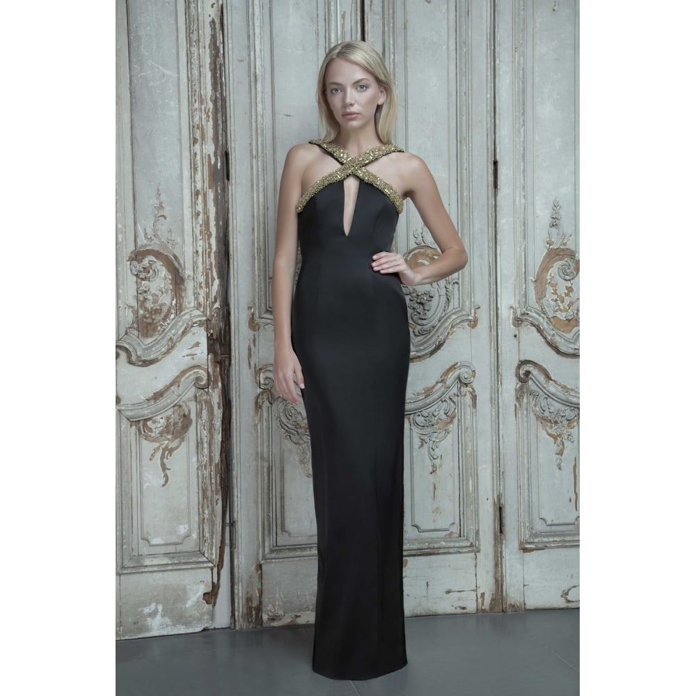 Aloura London Estelle Gown with deep v back in black and Gold