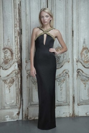 Estelle Black Satin Halter Dress with Gold Sequins