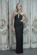 Aloura London Estelle Black Satin Halter Dress with Gold Sequins