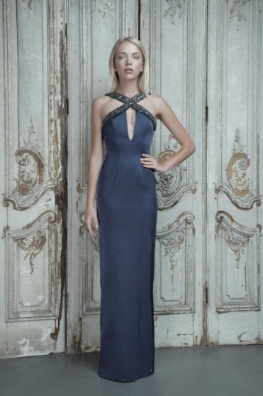 Estelle Navy Satin Halter Dress with Gold Sequins