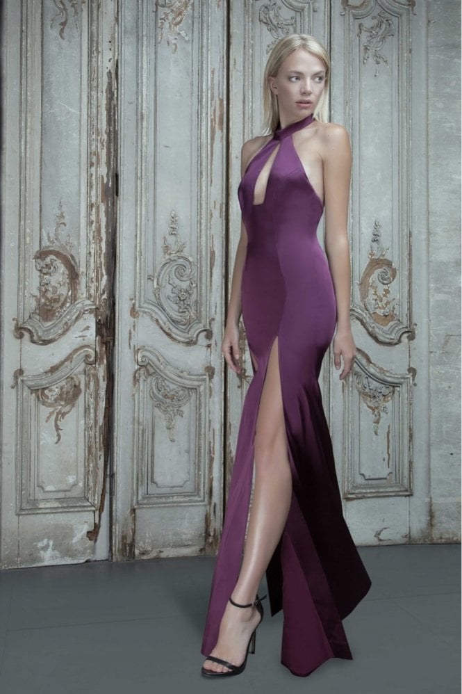 Aloura London Saffron Berry Halter Front Split Gown