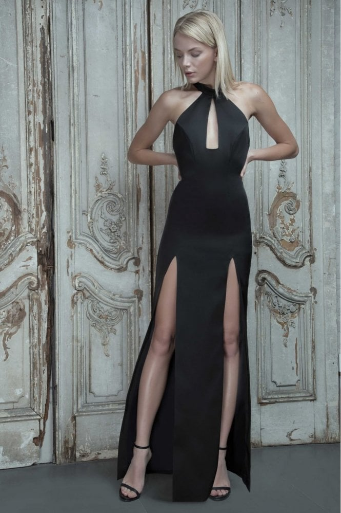 Aloura London Saffron Black Halter Front Split Gown