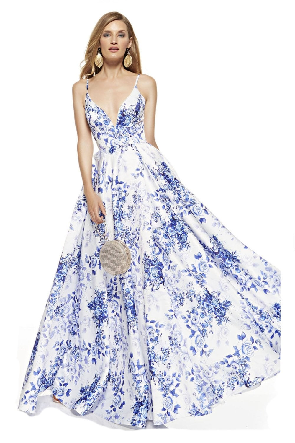 professional sale pretty cheap outlet boutique Alyce Paris diamond white & royal blue floral print formal prom dress