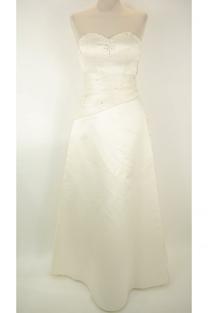 Ava's Ivory strapless wedding dress (damaged) with stole