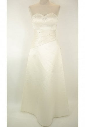 Ivory strapless wedding dress (damaged) with stole