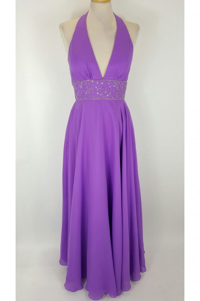 Ava's Purple Halterneck full length gown - Ava7029