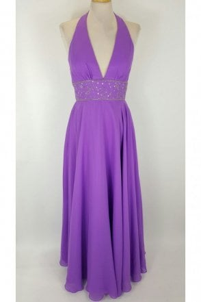 Purple Halterneck full length gown - Ava7029