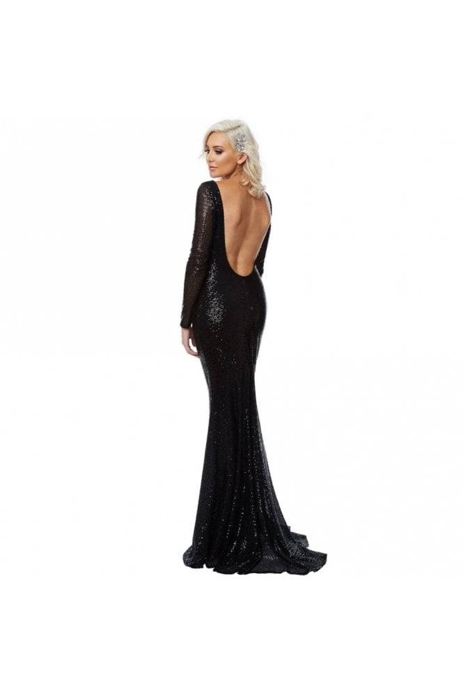 City Goddess London Black DR1021 Open Back Sequin Fishtail Dress