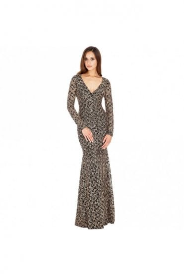 DR251 Black & Gold Sequin V front open back long dress