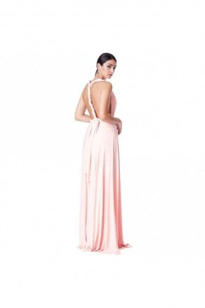 Oyster pink DR1186A multi way tie plated dress