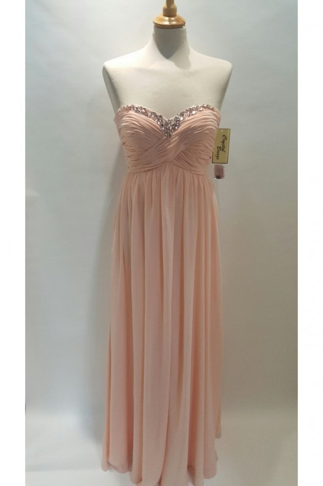 Crystal Breeze Adina peach ruched strapless sweetheart chiffon long gown