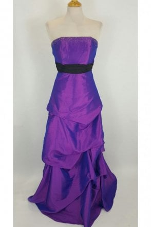 Aruba Purple Ruched Skirt Strapless Dress