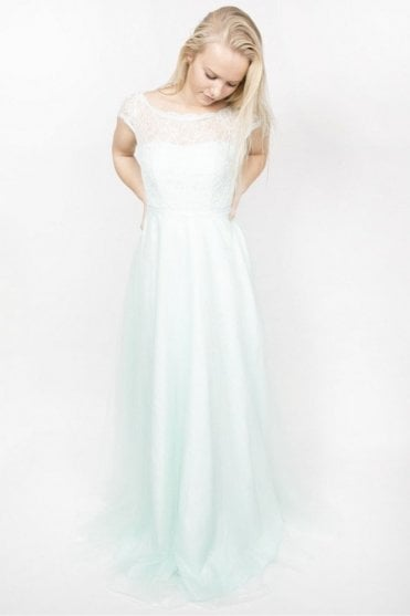 Carly Long Mint Lace bust overlay long dress