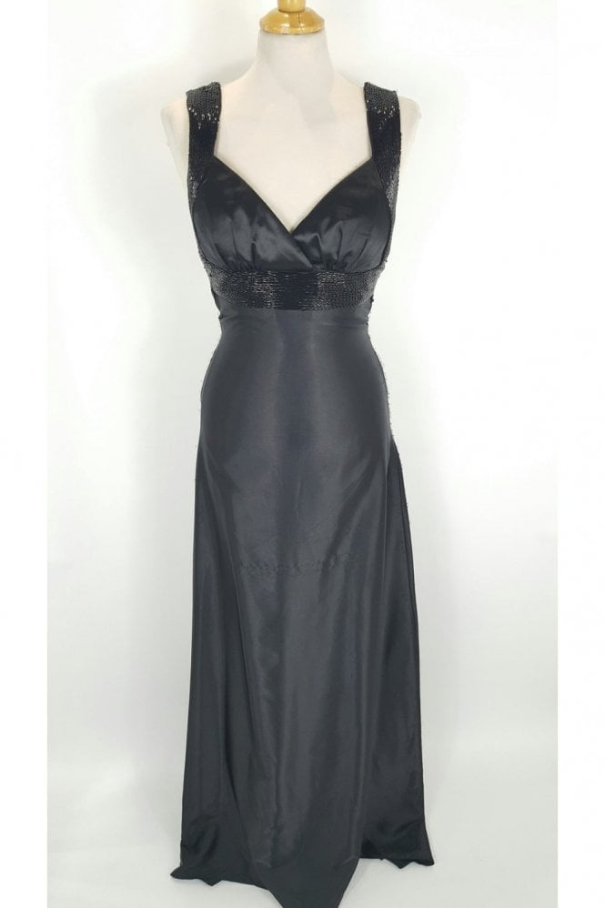 Crystal Breeze Davina Black Floor Length Open Back Dress