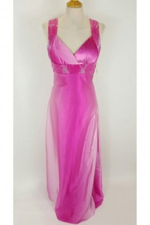 Davina Fuchsia Floor Length Open Back Dress