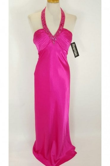 Gabrielle Fuchsia Halterneck Low Back Prom Dress