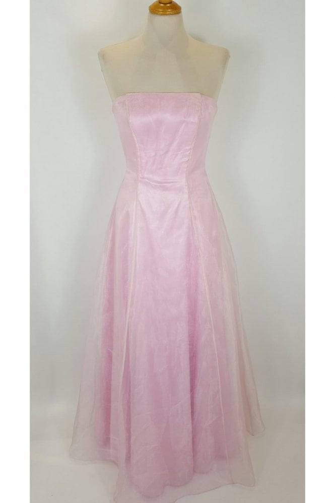 Crystal Breeze Ivy Baby Pink Strapless Organza Overlay Ballgown