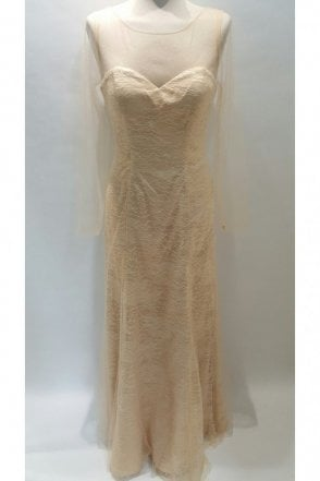 Jeanette Champagne strapless lace overlay mesh sleeve dress