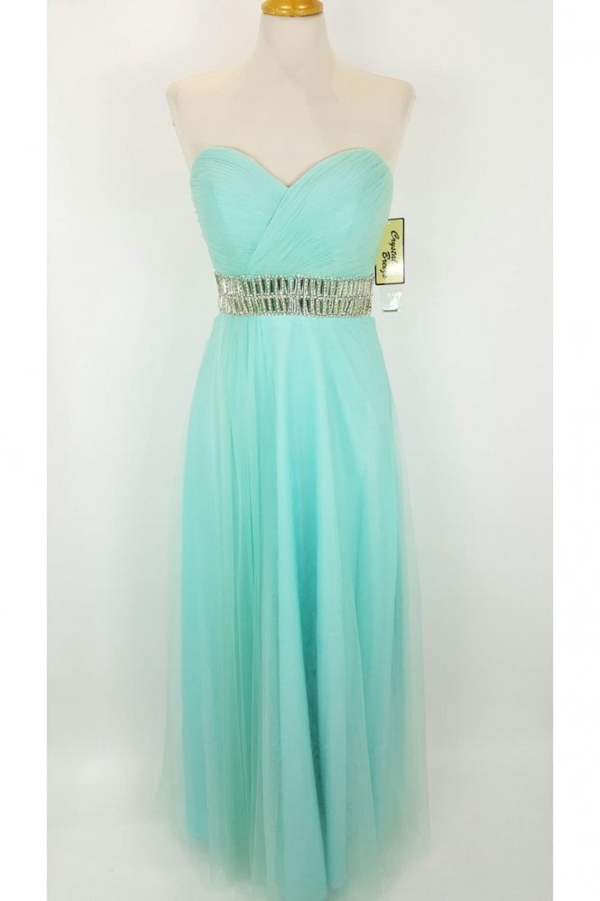 Crystal Breeze Leanne Aqua Long Strapless Chiffon Gown