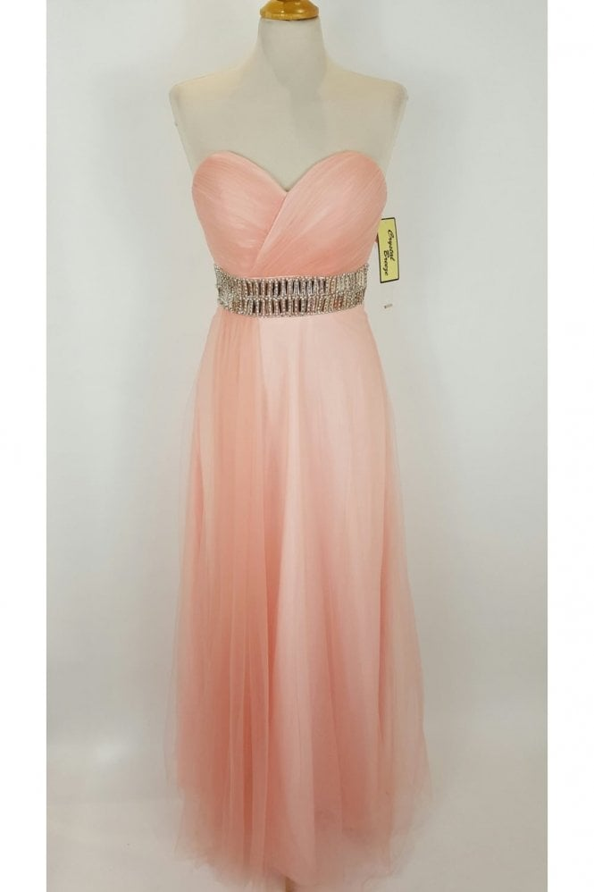 Crystal Breeze Leanne Peach Long Strapless Chiffon Gown