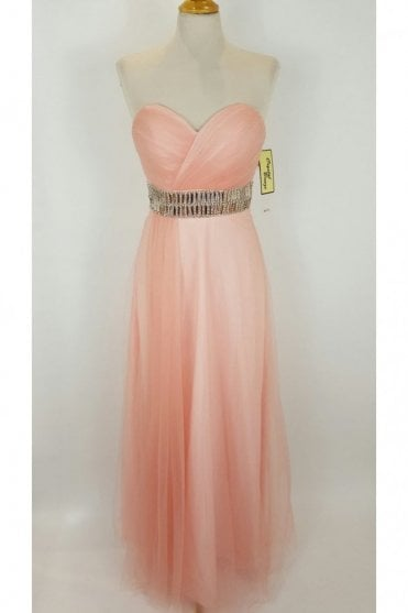 Leanne Peach Long Strapless Chiffon Gown
