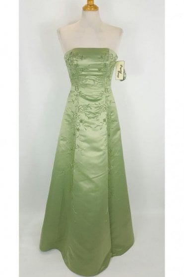 Nicole Sage Green Strapless Bead Detailed Gown
