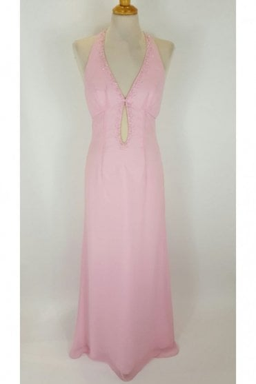Pink Mandy Halter Neck Floor Length Gown