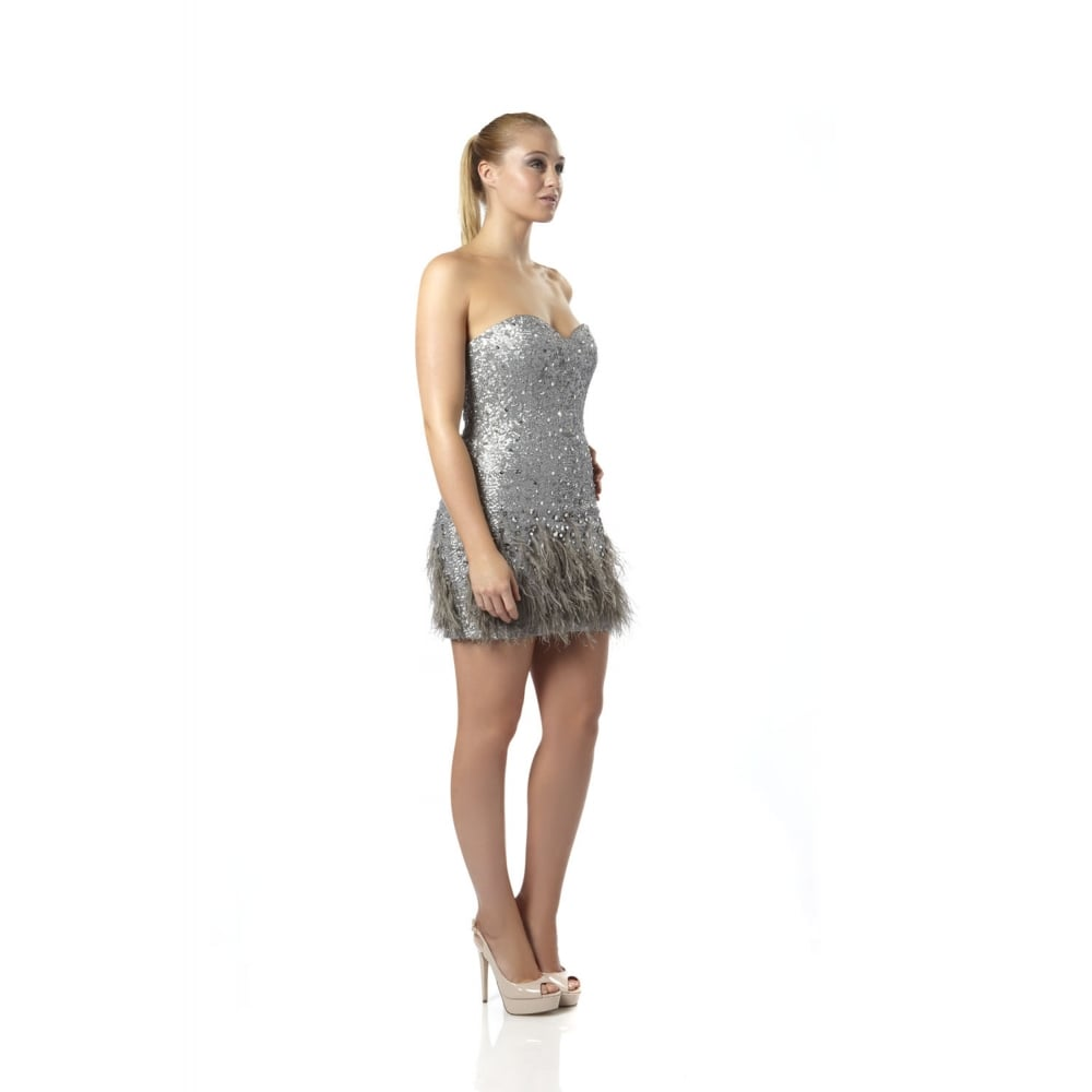 Dynasty 1072109 Silver sequin and feather cocktail dress