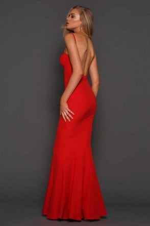 Abba red low back bustier gown