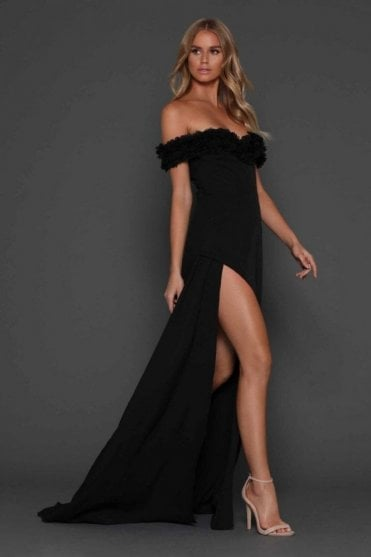 Black Darcia off the shoulder gown with ruffles