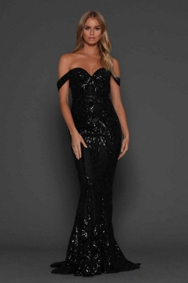 Black Harris Glamorous figure hugging fishtail dress