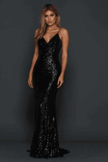 Black Madden draped back cross over bust sequin gown