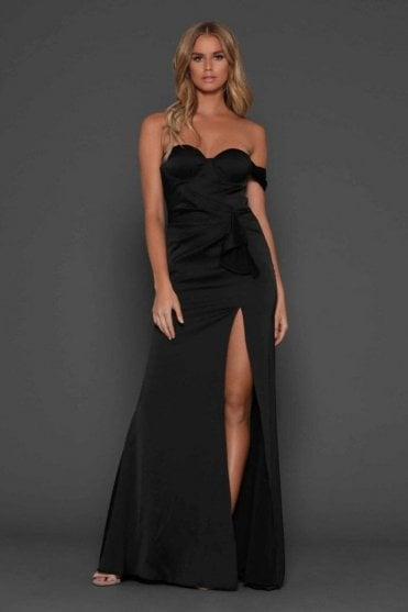 Black Maise satin fluid gown with thigh high split