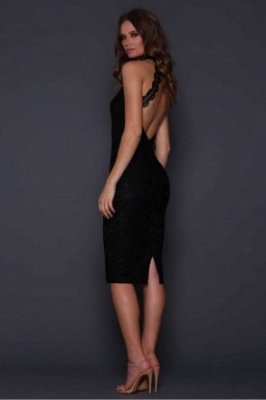 Black Meagan Low Back Lace Dress