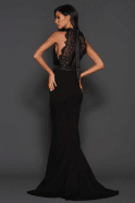 Elle Zeitoune Black pauline high neck lace detail dress