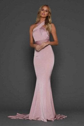 Blush Alexander figure hugging fishtail multiway dress