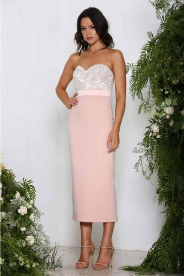Blush Kathleen strapless contrast bustier dress