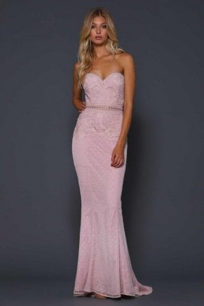 Blush Rigel lace detailed gown with sheer waistline trim
