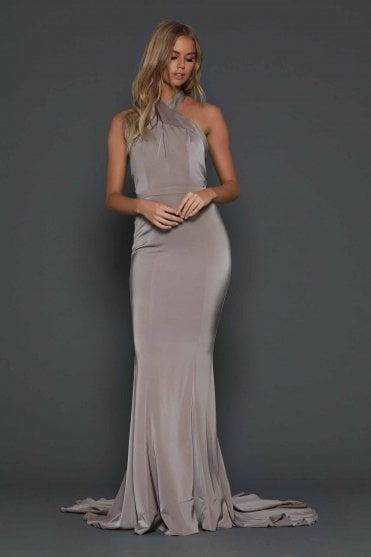 Bronze Alexander figure hugging fishtail multiway dress