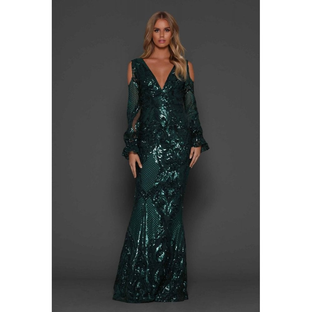 bc218780d41 Elle Zeitoune Emerald Green Helen v neck, cold shoulder long sleeve gown