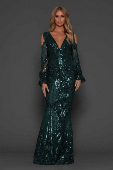 Emerald Green Helen v neck, cold shoulder sleeve gown