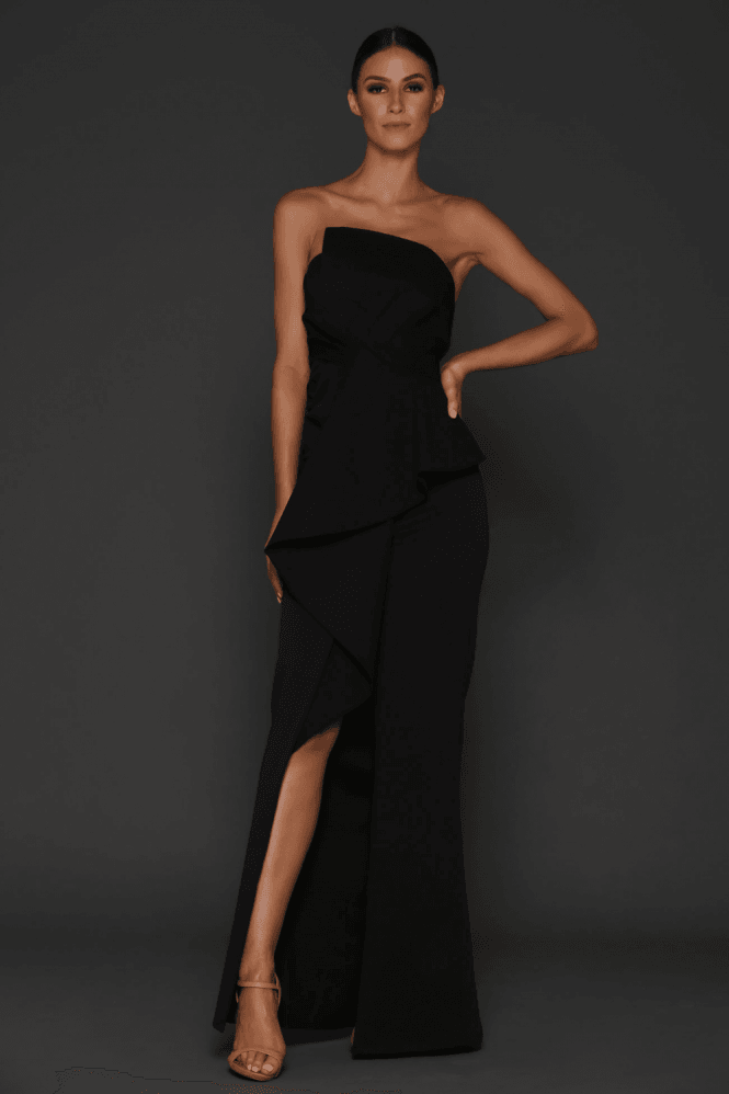 Elle Zeitoune Esmerelda Black Structured Detailed Front Split Gown
