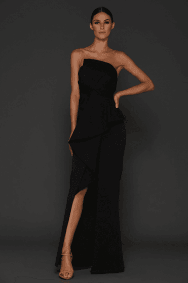 Esmerelda Black Structured Detailed Front Split Gown