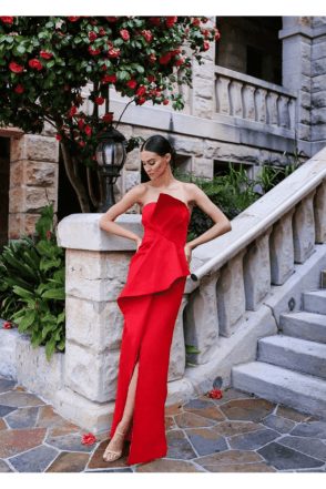 Esmerelda Red Structured Detailed Front Split Gown