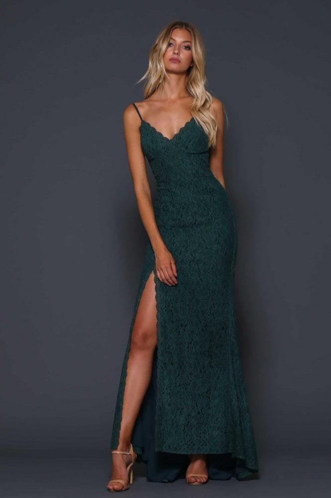 Elle Zeitoune Forest Green Giovanna Lace Gown