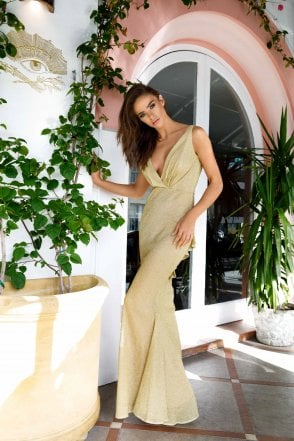 Gold Laguna shimmering gown with pleated neckline