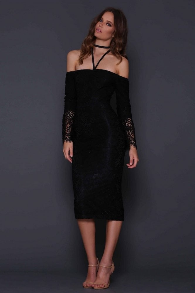 Elle Zeitoune Mendel Black Off the Shoulder Lace Dress