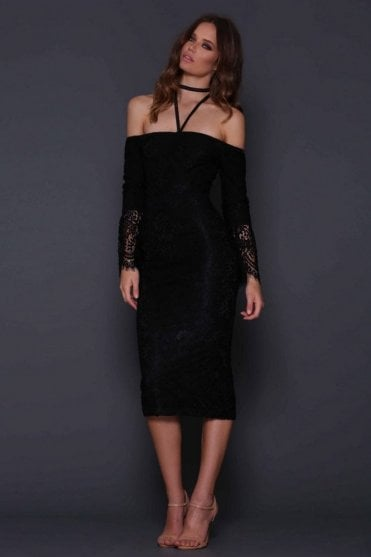 Mendel Black Off the Shoulder Lace Dress
