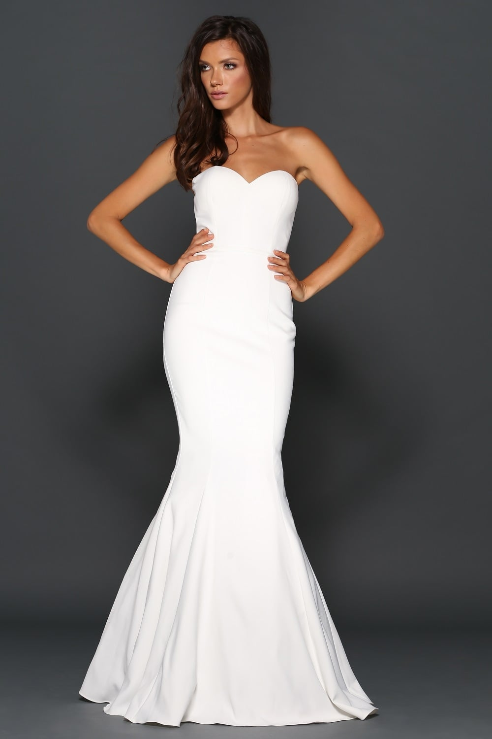 Mina White Fitted Full Length Gown By Elle Zeitoune