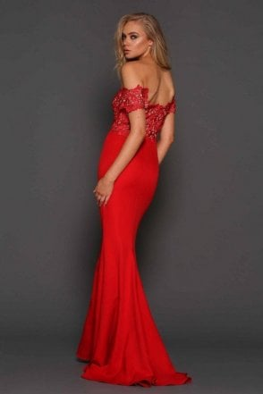 Monroe red lace off the shoulder gown